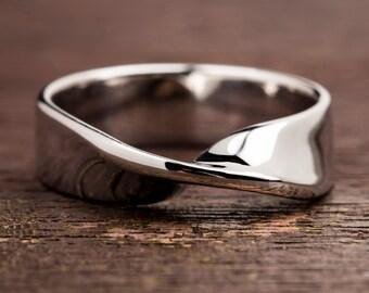 Mobius Ring, Sterling Silver Ring, 9k Mobius Ring, Solid Gold Mobius, Mobius 5mm