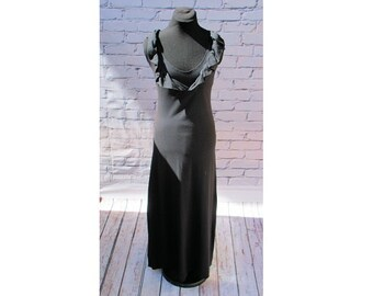 Black Ruffle Boho Maxi Dress, Organic Cotton Knit dress, Casual Dress, Hippie Dress, Festival Dress, Organic Bohemian dress, Boho Long Dress