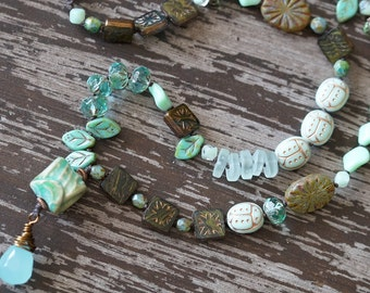 Unlisted - Asymmetrical Necklace - Boho Knotted Necklace - Mint Green Necklace - Earthy Necklace - Beach Glass - Bead Soup Jewelry
