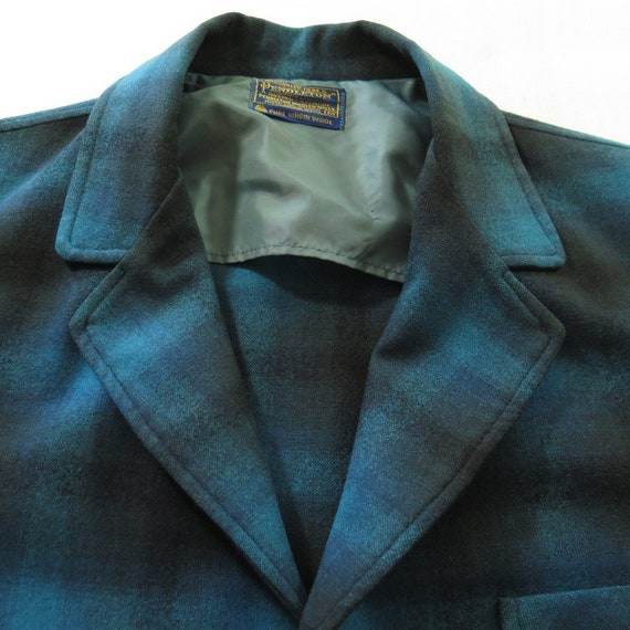 USA Plaid M Vintage 1 2 Shadow Knot Made Mens Jacket Pendleton 60s Leather Wool H90R wqxfg