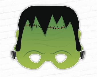 Halloween Mask, Frankenstein Printable Mask, Monster Mask, Party Mask, Paper Mask, Movie Mask, Dead Guy, Instant Download, Photo Booth Props