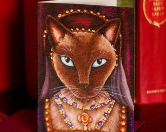Tudor Cat Card, Catherine Howard Siamese Cat 5x7 Greeting Card