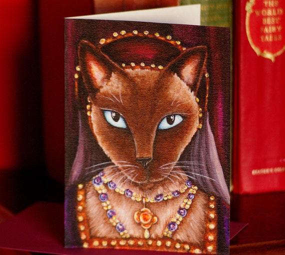 Catherine Howard Tudor Siamese Cat Greeting Card