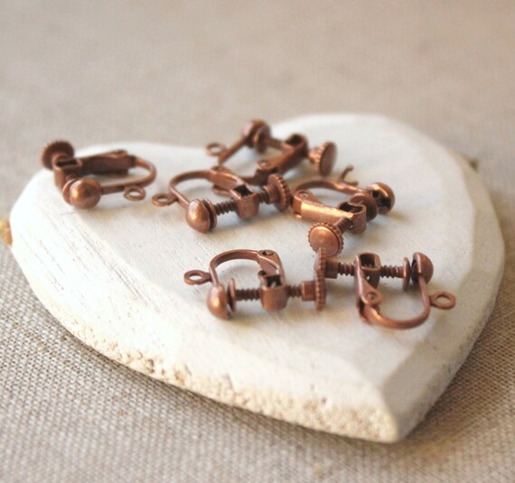 antiqued copper clip on earring findings screwback