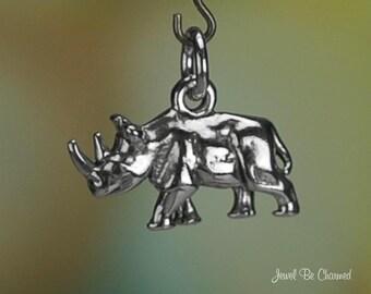 Sterling Silver Rhinoceros Charm Zoo Rhino Africa Asia 3D Solid .925