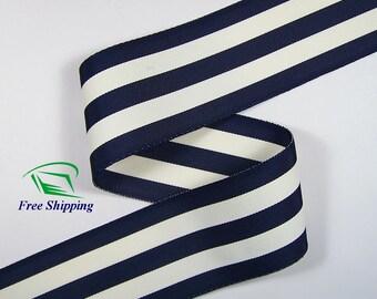 """2"""" (50mm) Navy Blue & White Grosgrain Ribbon 1013 (BTY)"""