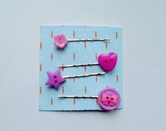 Button fun bobby pins, star bobby pin hair clips hair accessories summer hair