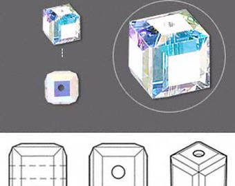 Swarovski cube beads in crystal ab size 6mm quantity of 9 - square beads - irridescent beads