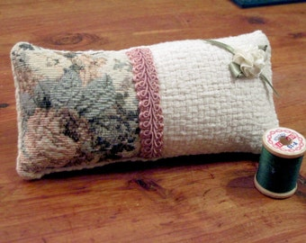 Tapestry Pincushion, Rectangle Pin Pillow. Great Crafter Sewing, Teacher, Quilter Gift. Upcycled Linen Pincushion, Pink Braid, Ribbon Rose.
