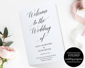 Folded Wedding Program Template PDF, Instant Download Wedding Ceremony Program Booklet, Order of Ceremony, Four Pages Wedding Program - A1BW