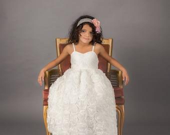 White First Communion Dress, Boho Lace Flower Girl Dress, Shabby Chic Country Rosette Dress, Photography Dress, Lillibeth