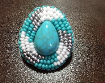 Turquoise center Native beaded earrings