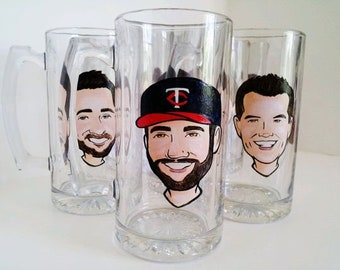 Custom Beer Glass Etched Beer Glass Cartoon Beer Mug Personalized Beer Mug  Custom Beer Mug Gift for Him Gift for Husband