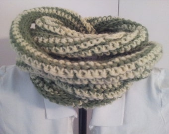 Cowl Infinity Scarf Super Scarf, Creamy Yellow and Green, Ready to Ship