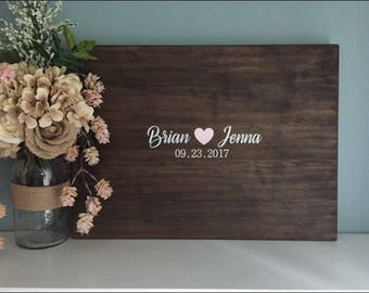 Rustic Wedding Guest Book Alternative / Sweetheart Design / Painted Rustic Wedding Decor Wedding Guest Sign In Wood Guest Book