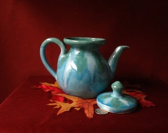 Vintage Collectible Dryden Glazed Pottery Made In Arkansas Aqua Teal and Green Ozark Frontier Teapot with Lid
