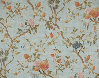 5,5 yards Scalamandre Colony Melograno Sky Blue lampas fabric (also available by the yard)