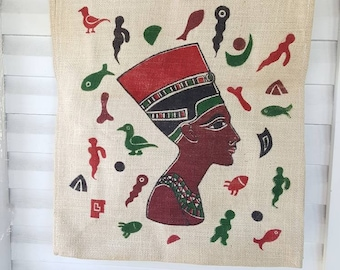 Vintage Egyptian Souvenir Handbag, Vintage Burlap Tote Bag, Vintage Cleopatra Purse, Queen of the Nile Bag, Queen Nefertiti Tote Handbag