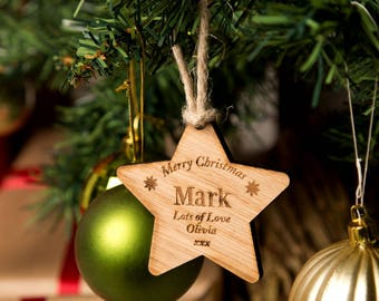 Personalised Wooden Christmas Star - Wooden Christmas Star, Hanging Wooden Star, Christmas Star Decorations, Christmas Wishes, Star Shape.