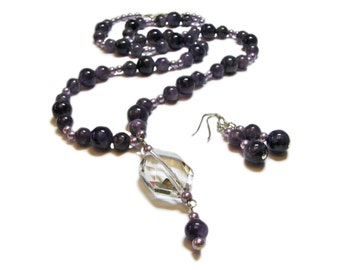 Amethyst and Glass Artisan Beaded Necklace and Earring Set By SoniaMcD