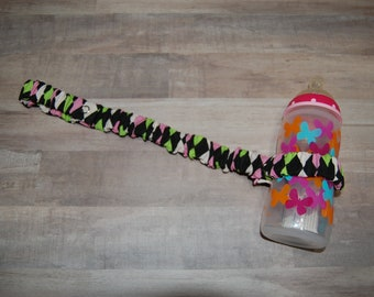 Sippy Cup Strap Pink & Green Diamonds on Black - Ready to Ship