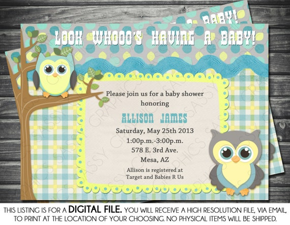 Boys baby shower invitation owl theme blue yellow gray filmwisefo Images