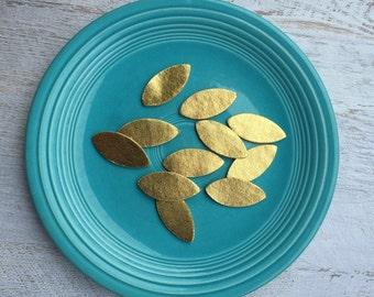 Wool Felt Metallic Gold Leaves - Great with Flowers - Felt Leaves - Gold Leaf