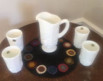 Beautiful Mint Westmoreland Paneled Grape Milk Glass 5 piece Beverage Set