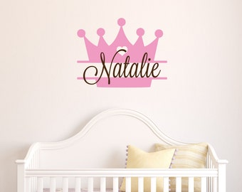 Princess Crown Name Decal - Princess Wall Decal - Tiara Girls Name Decal - Baby Girl Nursery Wall Decal  - Butterfly Decal