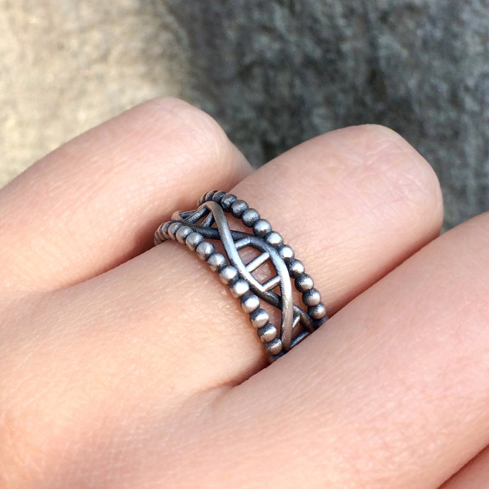 Silver Dna Ring in Sterling Silver Metal Matte Dna Ring Bold