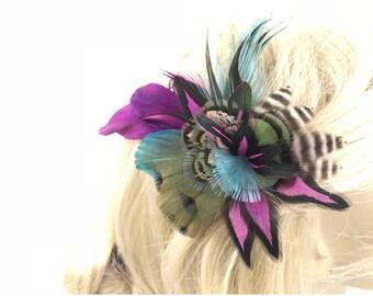 Hot Fushia with Parrot Feather Hair Clip, Bright Vibrant Feather Fascinator, Fushia Feather Barrette, Fushia Feather Accessory,Feather Clip