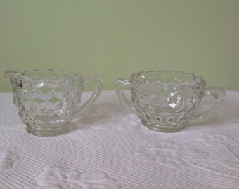 "Jeannette Glass - creamer and sugar depression glass - pattern ""cube"" / / made in the United States"