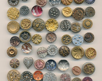 Antique Vintage  Victorian Metal Buttons- 60 Buttons  Lot#4-3     Ca. 1890's to  1930's