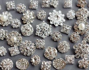 SALE 10 Assorted Rhinestone Button Brooch Embellishment Pearl Crystal Wedding Brooch Bouquet Cake Hair Comb Shoe Clip BT574