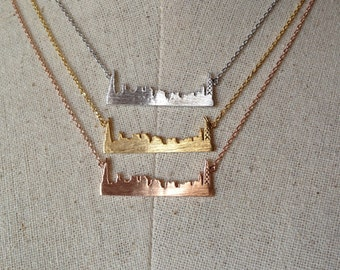 Chicago Skyline Necklace, 14k Gold plated/Rose Gold/Silver, Dainty Necklace