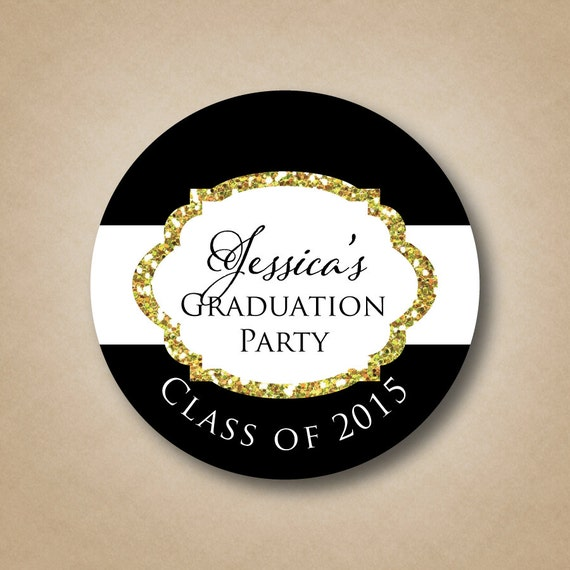 Black and gold glitter graduation party stickers personalized