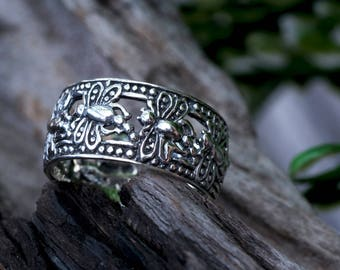 Exotic Dragonfly Silver Band Ring, 925 Sterling Silver, Fine Quality , Balinese Jewelry