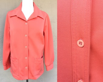 Vintage 70s Sears Blouse/ Polyester Blouse/ Groovy/ Coral/ Vintage Sears/ Long Sleeve/ 70s Polyester/ Work Blouse/ Bright Color/ 1970s