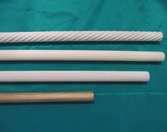 Various sizes  white painted twisted / spiral wood rods for draperies / curtains / valances etc .