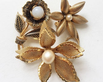 vintage gold tone metal flower with faux pearl centers brooch destash for repurposing repairing or wearing--mixed lot of 3