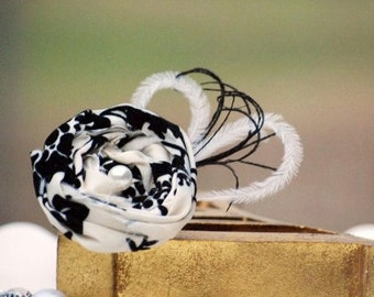 Damask & Feathers Hair Clip OR Pin. Handmade Photo Prop, Preppy Birthday Gift. Couture Ivory White Pearl, Vanilla Cream Beige Natural Black