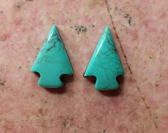 Light Blue Turquoise Arrowhead Cabochon Pair/ backed/Turquoise Mountain