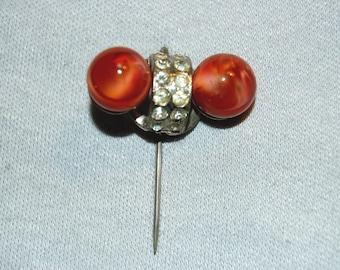 Hat Stick Pin, Czechoslovakia Antique Rhinestone, Vintage old jewelry
