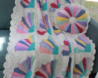 Scrap Fan Afghan and Pillow Crochet Pattern PDF