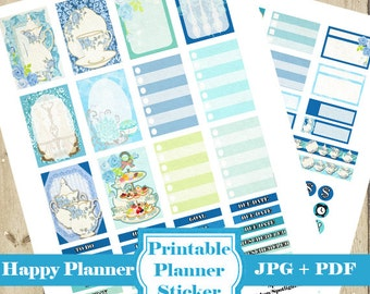 TEA Planner Stickers Kit – Afternoon Tea Party PRINTABLE Planner Stickers Mambi Happy Planner Stickers Monthly Functional Stickers DOWNLOAD