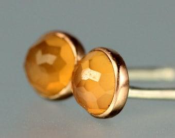 Peach Moonstone Studs - Peach Moonstone Rose Gold Studs - Rose Cut Moonstone Rose Gold Posts - Peach Moonstone Gem Studs - 14 KT Rose Gold
