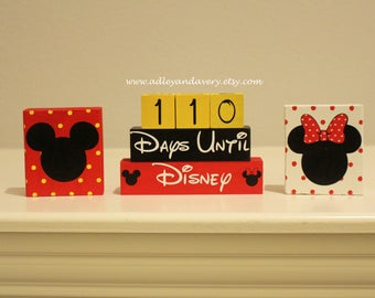 Disney Countdown Blocks, Vacation Countdown Character Blocks, Mickey Mouse Block, Minnie Mouse Block, Small Disney Block