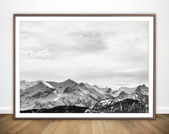 Mountain Print • Scandinavian Wall Art Nordic Decor Snow Mountain Poster Mountain Wall Art Mountain Photography Nordic Print Nordic Poster