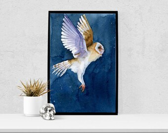 Flying Owl Print - Barn Owl Watercolor - Halloween Art - Woodland Watercolor - Boy Nursery Art