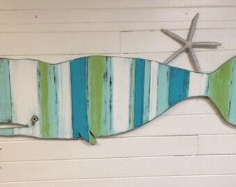 Whale Sign Beach House Decor Wall Art Striped Sea Glass Colours by CastawaysHall